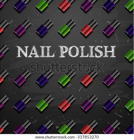 nail polish decorative cosmetics make up accessories beauty store - stock vector