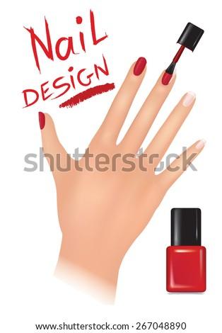 Nail polish design banner. Woman hand with applying a varnish on nails - stock vector