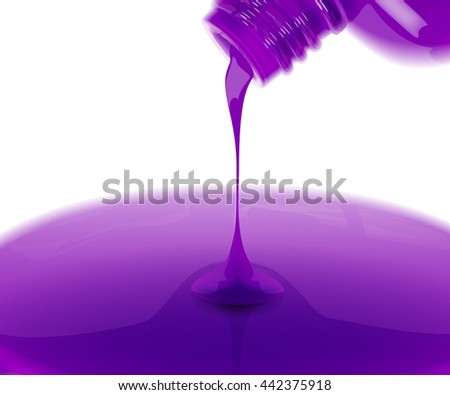 Nail polish leaking out from bottle. Vector realistic illustration.