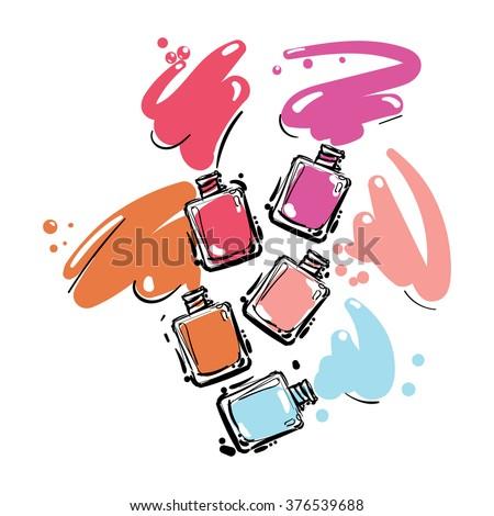 Nail polish set of jar, vector illustration - stock vector