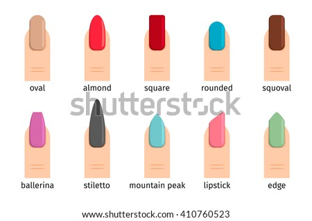 Nail Shape Icons Types Of Fashion Shapes Vector Illustration