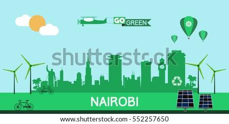 Nairobi Skyline Silhouette Flat Design Vector Stock Vector