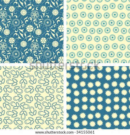 naive flowers in pattern set - stock vector