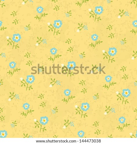 Naive flowers, seamless background, vector illustration, eps 10 - stock vector