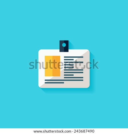 Name tag flat icon. Modern flat icons vector collection with long shadow effect in stylish colors of web design objects. Trendy Flat Style. Isolated on blue background. Flat design. EPS 10. - stock vector