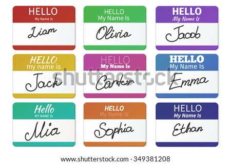 Name tag set. Hello my name is. card, Label sticker, introduce badge welcome with writing inscription, vector illustration - stock vector