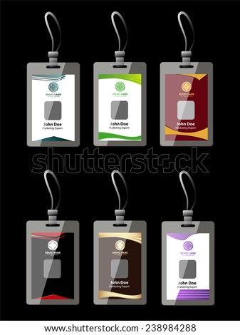 Name tag set, Identification Card, ID card collection - stock vector