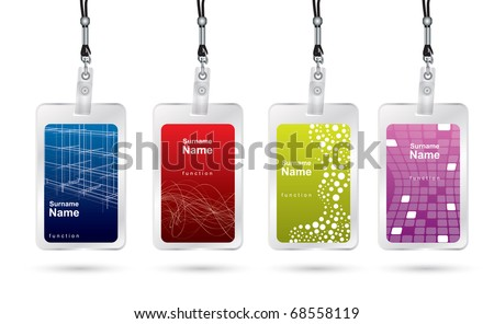 Name tag set in editable vector format