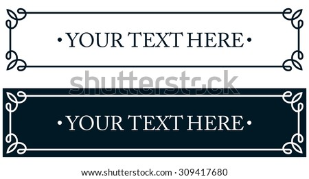 Nameplate plaque border frame. Door plate line deco vector label simple - stock vector