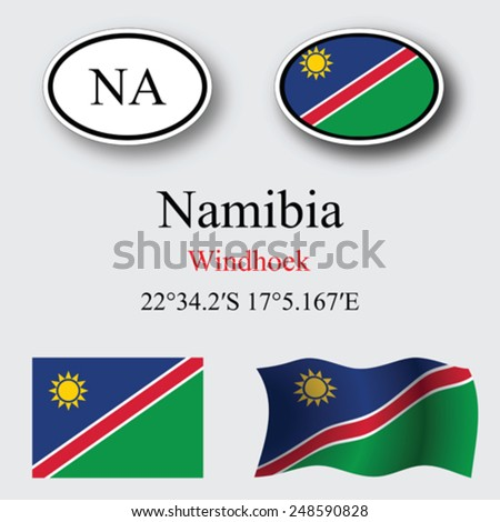namibia icons set against gray background, abstract vector art illustration, image contains transparency