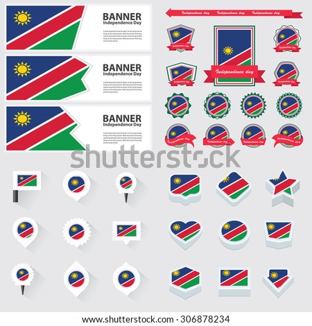 Namibia independence day, infographic, and label Set.