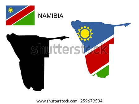 Namibia map and flag vector namibia map namibia flag