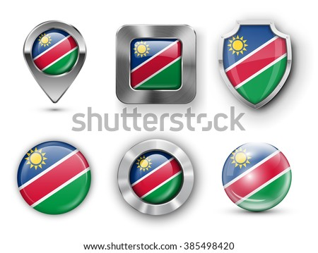 Namibia Metal and Glass Flag Badges, Buttons, Map marker pin and Shields. Vector illustrations