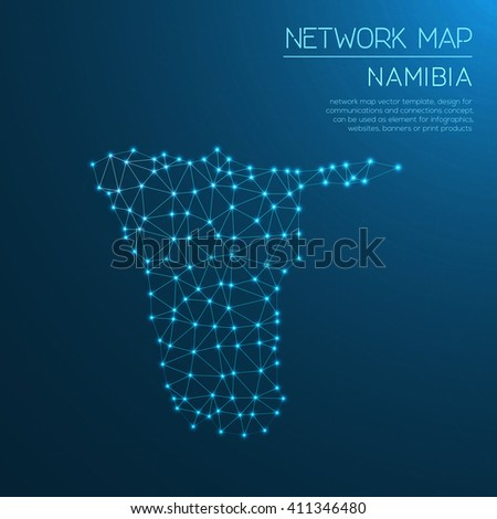 Namibia network map. Abstract polygonal Namibia network map design with glowing dots and lines. Map of Namibia networks. Vector illustration. - stock vector
