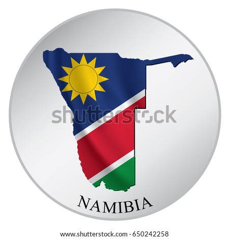 Namibia vector sticker with flag and map label round tag with country name