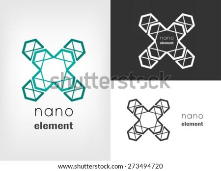 Nanotechnology logo design template - stock vector