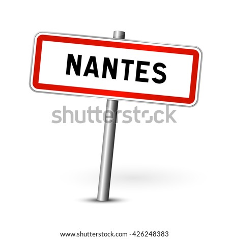 Nantes France - city road sign - signage board