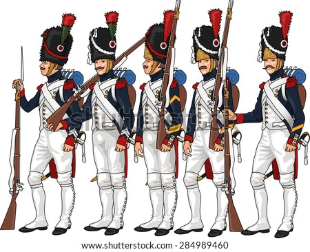 Napoleon's Grenadier Guardsmen, Illustration Isolated on White Background, EPS 10 Vector - stock vector