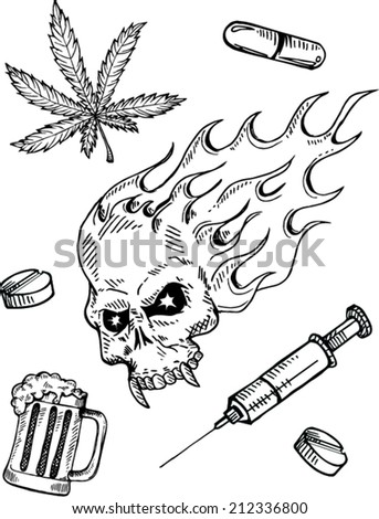 Narcotic drugs doodle style , vector illustration - stock vector