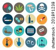 Narcotic drugs flat icon - stock