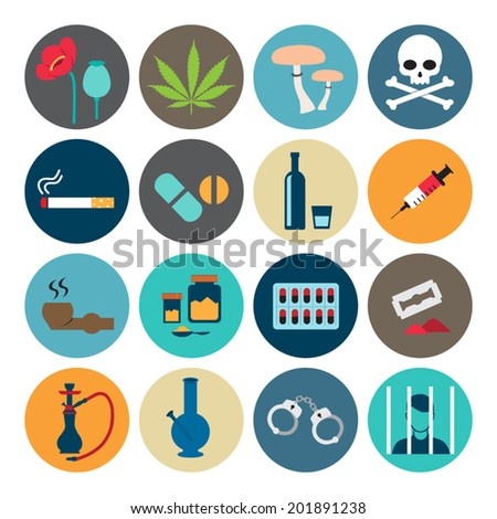 Narcotic drugs flat icon - stock vector