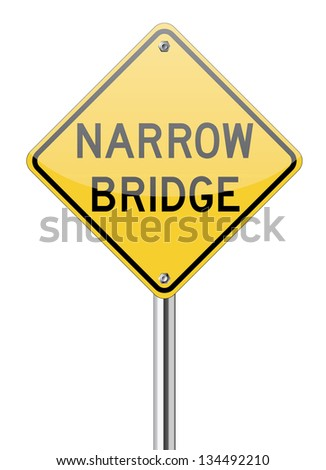 Narrow bridge traffic sign on white - stock vector