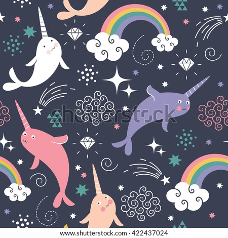 Narwhal Seamless  Pattern  - stock vector