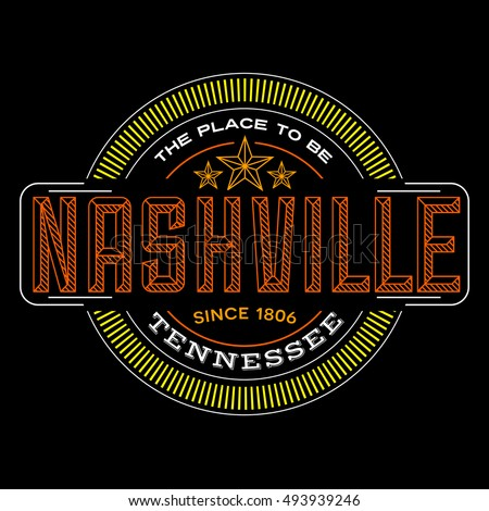 Nashville tennessee linear logo design for t shirts and stickers