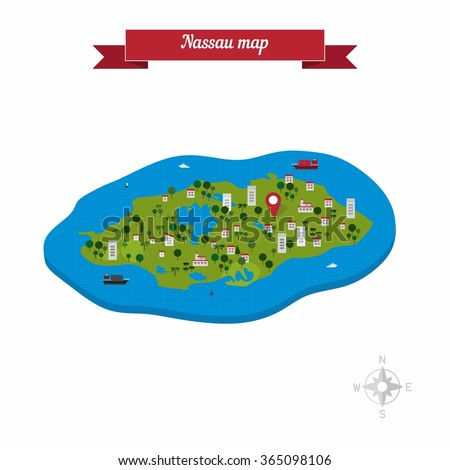 Nassau New Providence Island Bahamas Map Stock Vector 365098106
