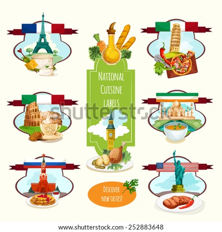 National cuisine paper labels set with travel landmarks and food isolated vector illustration - stock vector