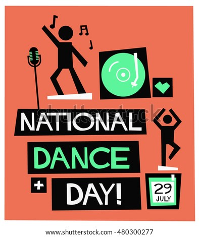 National Dance Day - July 29 (Flat Style Vector Illustration Quote Poster Design)