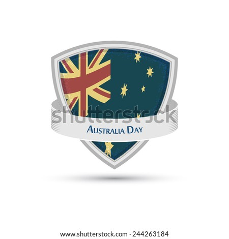 national day of Australia flag on the shield EPS10 - stock vector