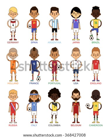 National Euro Cup soccer football teams vector illustration. World football teams captain leaders in uniform. Football men isolated on white background