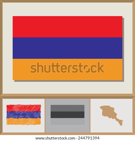 National flag and country silhouette of Armenia - stock vector