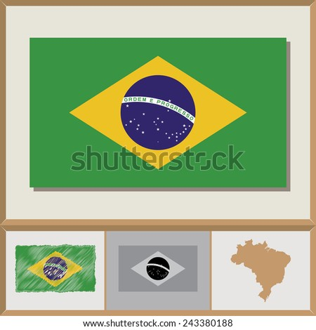 National flag and country silhouette of Brazil - stock vector