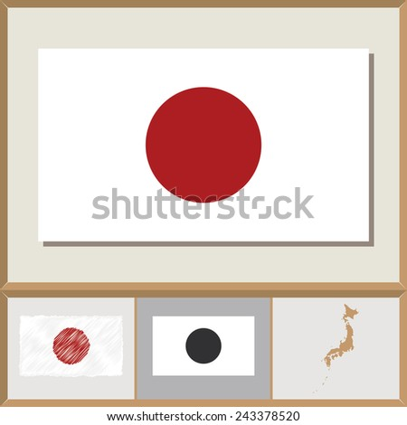 National flag and country silhouette of Japan - stock vector
