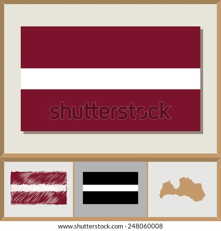 National flag and country silhouette of Latvia - stock vector
