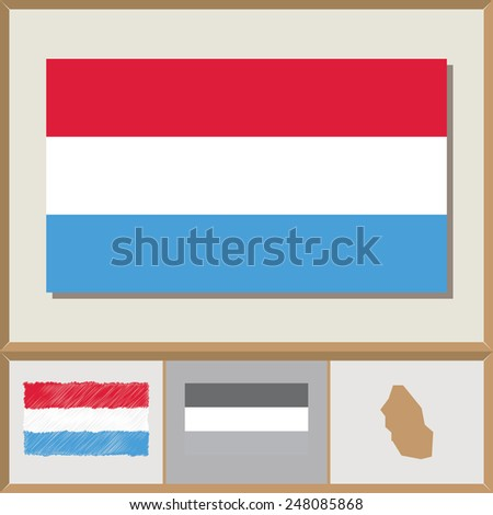 National flag and country silhouette of Luxembourg - stock vector