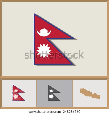 National flag and country silhouette of Nepal - stock vector