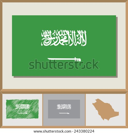 National flag and country silhouette of Saudi Arabia