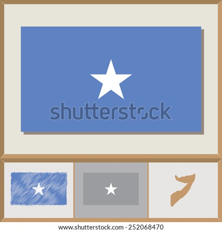 National flag and country silhouette of Somalia - stock vector