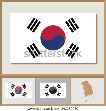 National flag and country silhouette of South Korea - stock vector