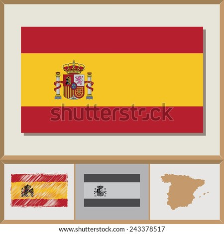 National flag and country silhouette of Spain