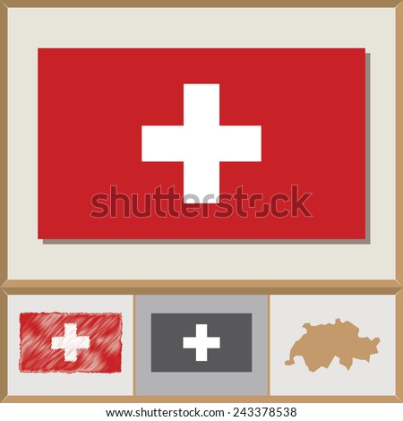 National flag and country silhouette of Switzerland - stock vector