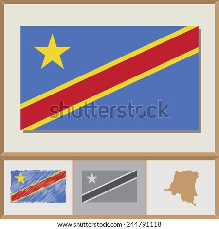National flag and country silhouette of the Democratic Republic of the Congo - stock vector