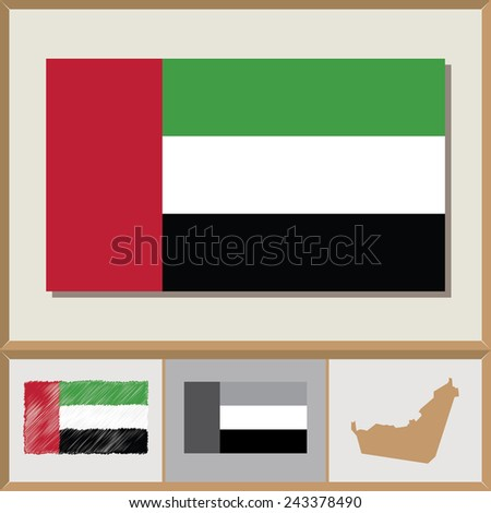 National flag and country silhouette of the United Arab Emirates