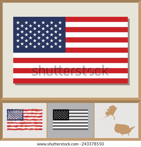 National flag and country silhouette of the United States of America - stock vector