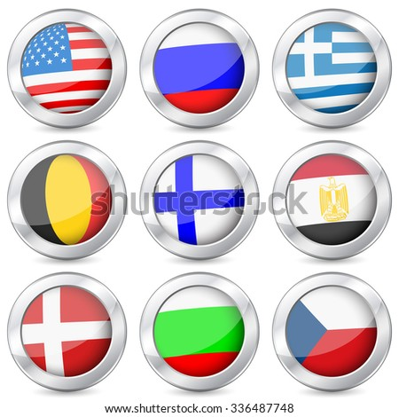 National flag button set on a white background. Vector illustration.