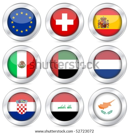 National flag button set on a white background. Vector illustration. - stock vector