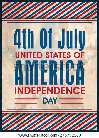 National flag colors vintage poster, banner or flyer on star decorated background for American Independence Day celebration. - stock vector